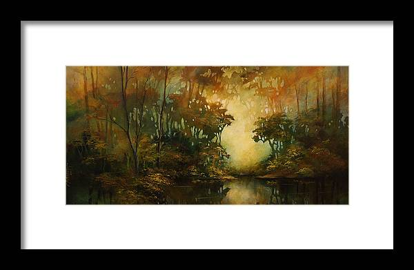 Abstract Art Framed Print featuring the painting Landscape 3 by Michael Lang