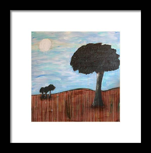 Trees Framed Print featuring the painting Landscape - Distant Cousins by Mario MJ Perron