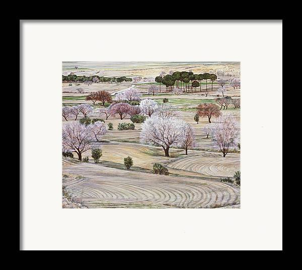Landscape Framed Print featuring the painting Landscape In Coral And Jade by Richard Bulman