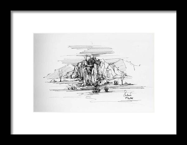 Landscape Framed Print featuring the drawing Landscape In Pen by Padamvir Singh