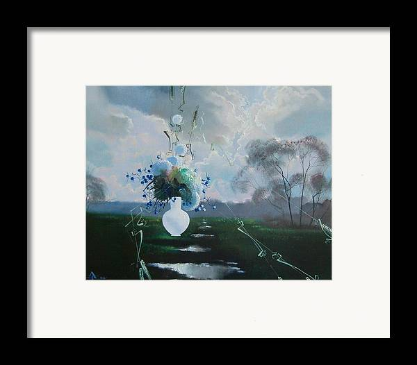 Landscape Framed Print featuring the painting Landscape Whith Bouquet by Andrej Vystropov