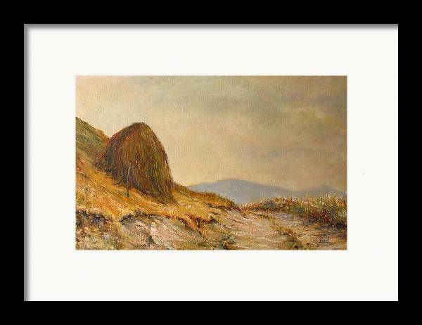 Armenia Framed Print featuring the painting Landscape With A Hayrick by Tigran Ghulyan