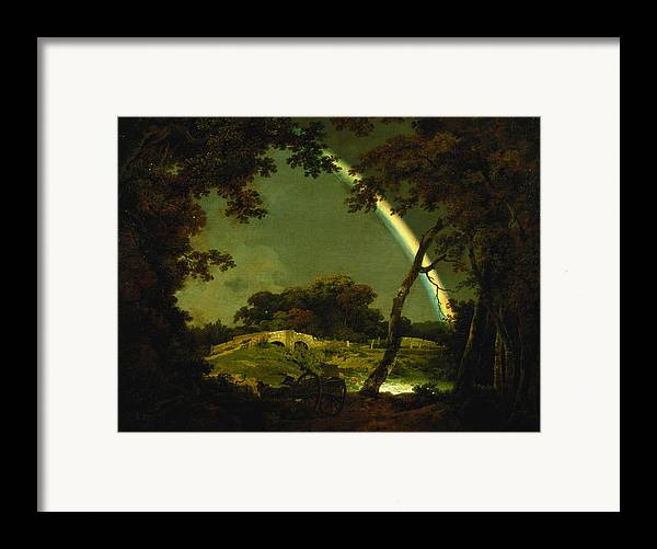 Landscape Framed Print featuring the painting Landscape With A Rainbow by Joseph Wright of Derby