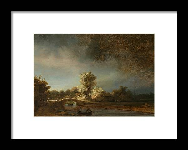 Rembrandt Framed Print featuring the painting Landscape With A Stone Bridge by Rembrandt