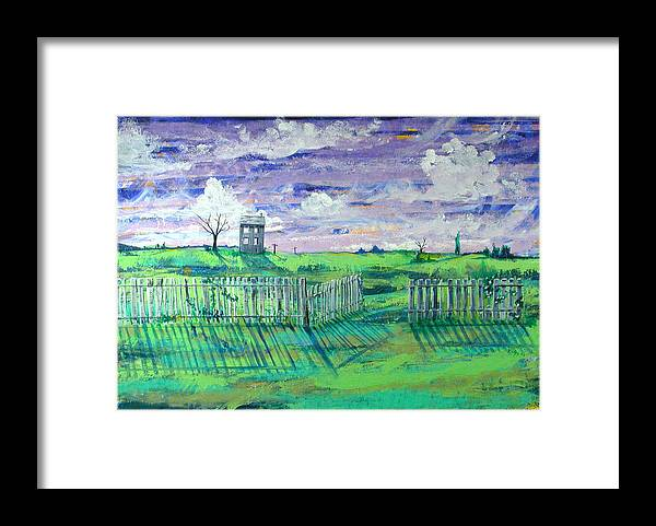 Landscape Framed Print featuring the painting Landscape With Fence by Rollin Kocsis