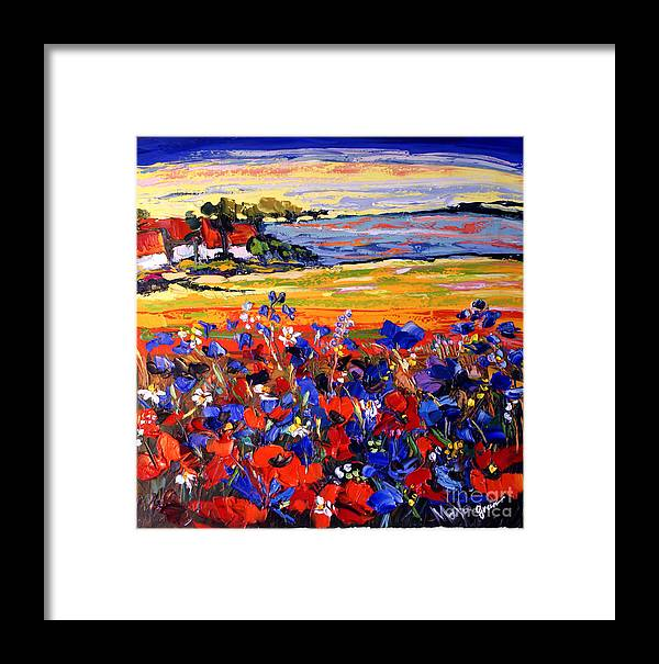 Artwork Framed Print featuring the painting Landscape With Poppies by Maya Green