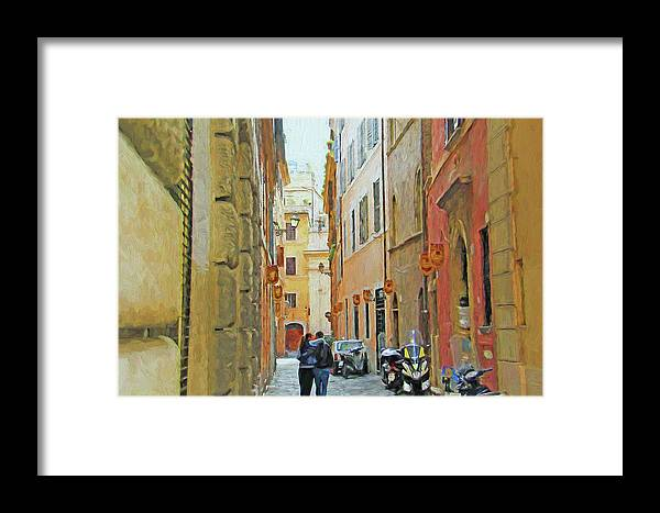 Street Framed Print featuring the pyrography Lane Kiss by Denis Brien