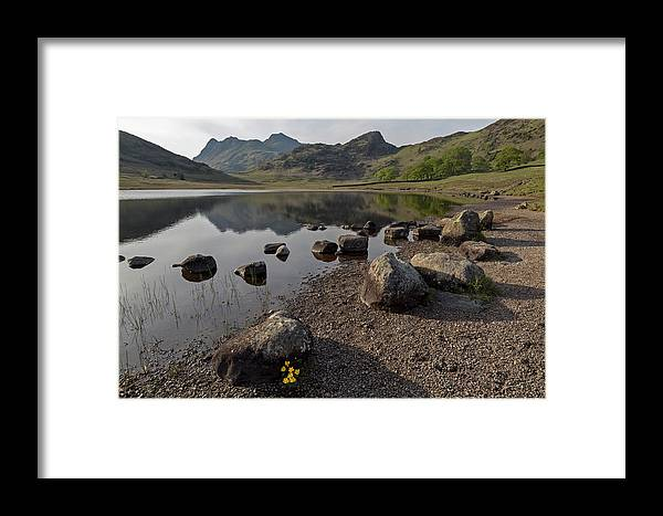 Blea Tarn Framed Print featuring the photograph Langdale Pikes And Blea Tarn by Derek Beattie
