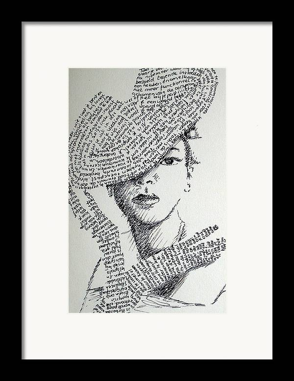 Hiding From Humanity Framed Print featuring the drawing Language Of Cloth by Tanni Koens