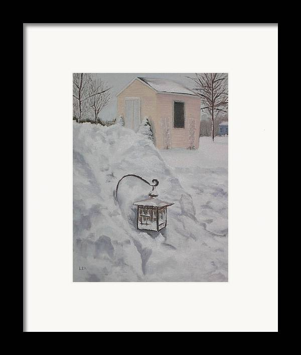 Snow Framed Print featuring the painting Lantern In The Snow by Lea Novak