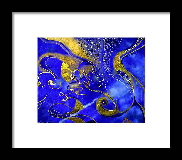 Lapis Lazuli Framed Print featuring the painting Lapis Lazuli by Wolfgang Schweizer