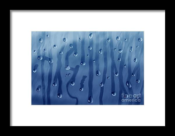 Rain Framed Print featuring the painting Large Drops Of Rain On The Glass by Julia Gogol