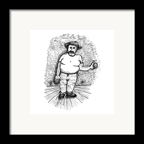 Drawing Framed Print featuring the drawing Large Man by Karl Addison
