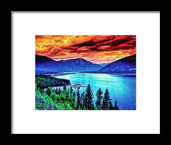 Framed Print featuring the digital art Large River Valley by Modified Image