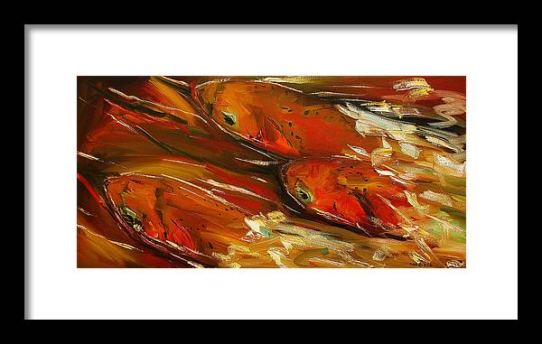 Trout Framed Print featuring the painting Large Trout Stream Fly Fish by Diane Whitehead