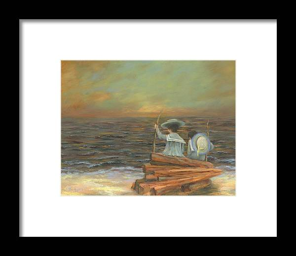 Seascape Framed Print featuring the painting Little Mariners by Nancy St Clair