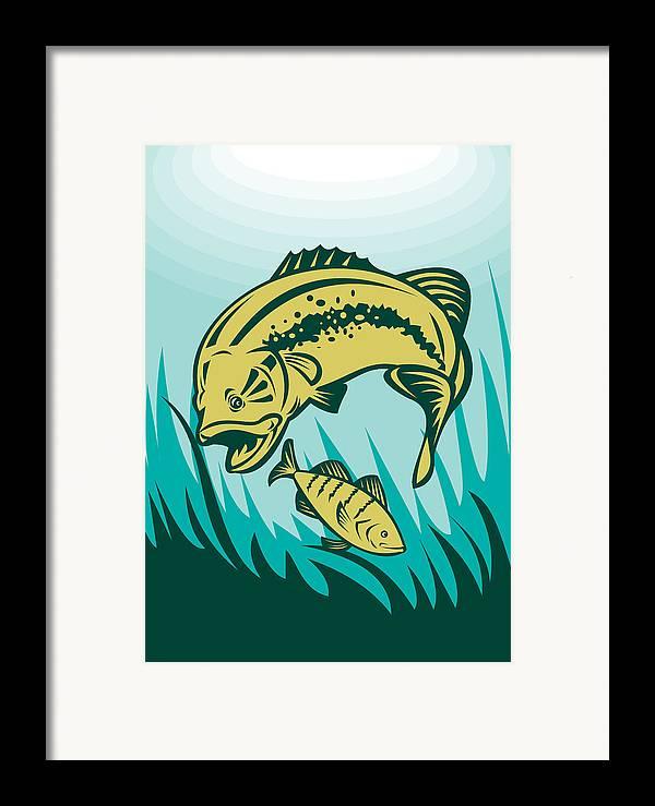 Largemouth Framed Print featuring the digital art Largemouth Bass Preying On Perch Fish by Aloysius Patrimonio