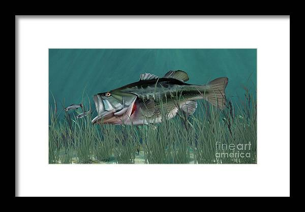 Fish Framed Print featuring the digital art Largemouth Bass by Walter Colvin
