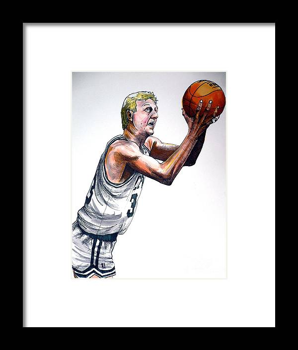 Larry Bird Framed Print featuring the painting Larry Bird by Dave Olsen