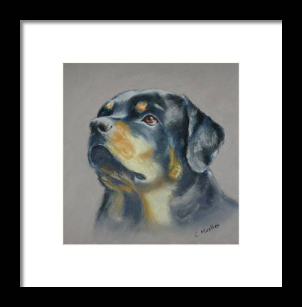 Dog Framed Print featuring the painting Lars by Carol Mueller