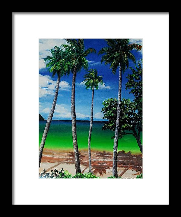 Trinidad Seascape Framed Print featuring the painting Las Cuevas Bay by Karin Dawn Kelshall- Best