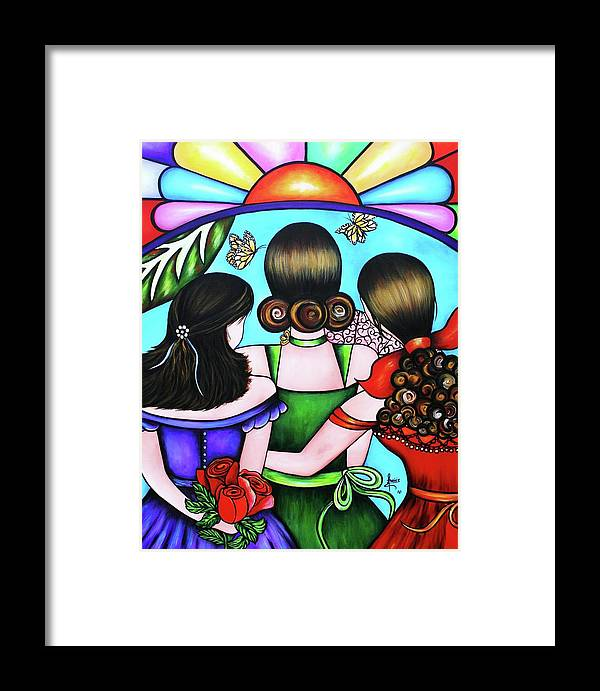 Woman Framed Print featuring the painting Las Tres Rosas by Annie Maxwell