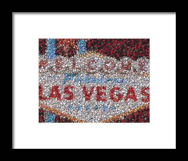 Gambling Framed Print featuring the mixed media Las Vegas Sign Poker Chip Mosaic by Paul Van Scott