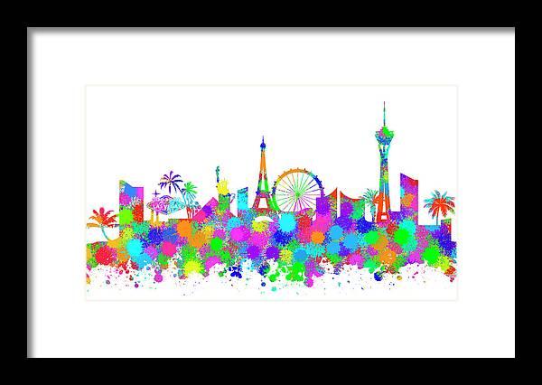 Las Framed Print featuring the digital art Las Vegas Skyline Silhouette V by Ricky Barnard