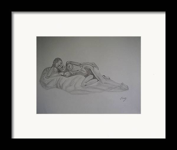 Nude Framed Print featuring the drawing Lascivious by Murielle Hebert