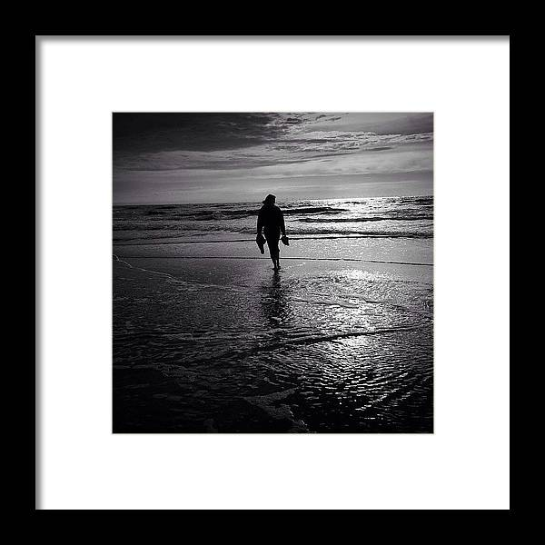 Framed Print featuring the photograph Last Barefoot Dip. The End Of Summer by Robbert Ter Weijden
