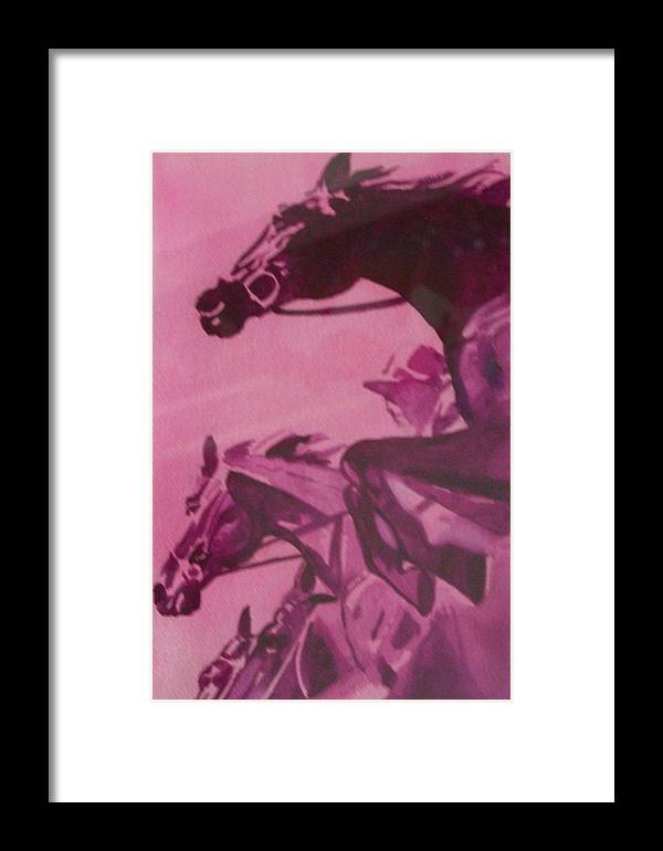 Horse Framed Print featuring the painting Last Fence by Jane Hanson