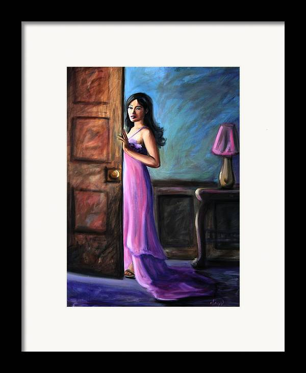 Woman Framed Print featuring the painting Last Glance by Maryn Crawford