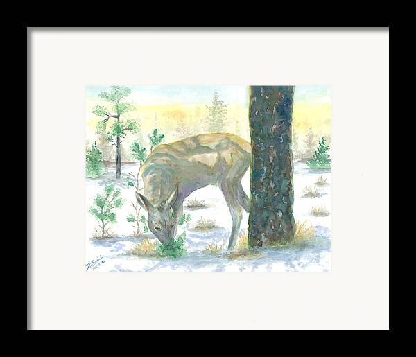 Deer Framed Print featuring the painting Last Greens by Dan Bozich