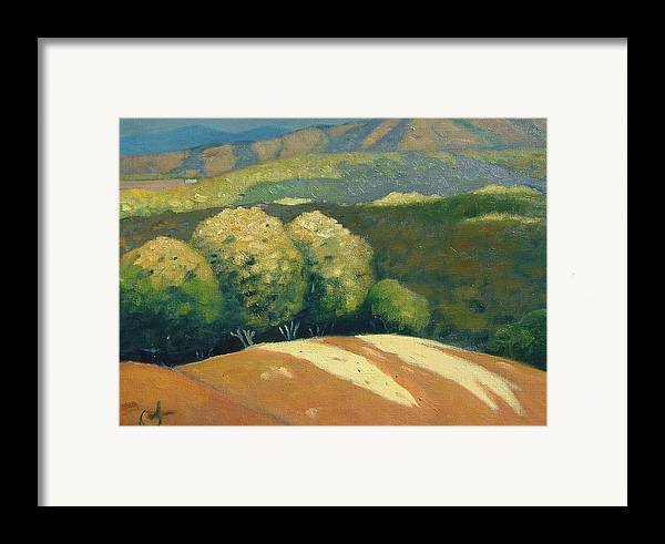 Hills Framed Print featuring the painting Last Kiss Of Sunlight by Gary Coleman