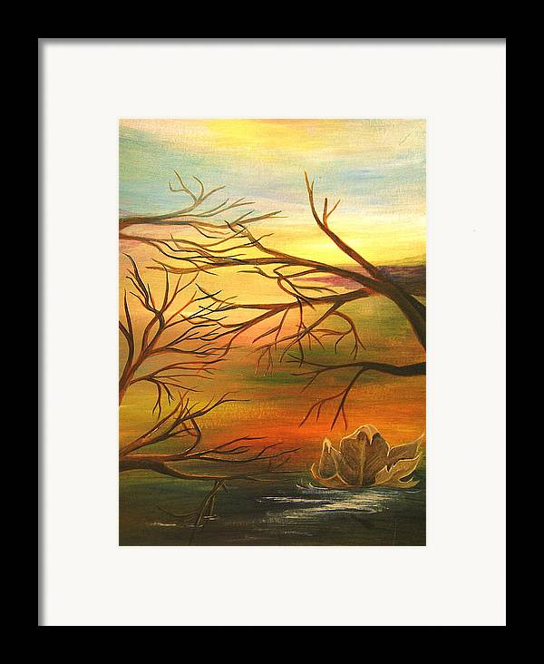 Landscape Framed Print featuring the painting Last Leaf Of Fall by Vivian Mosley