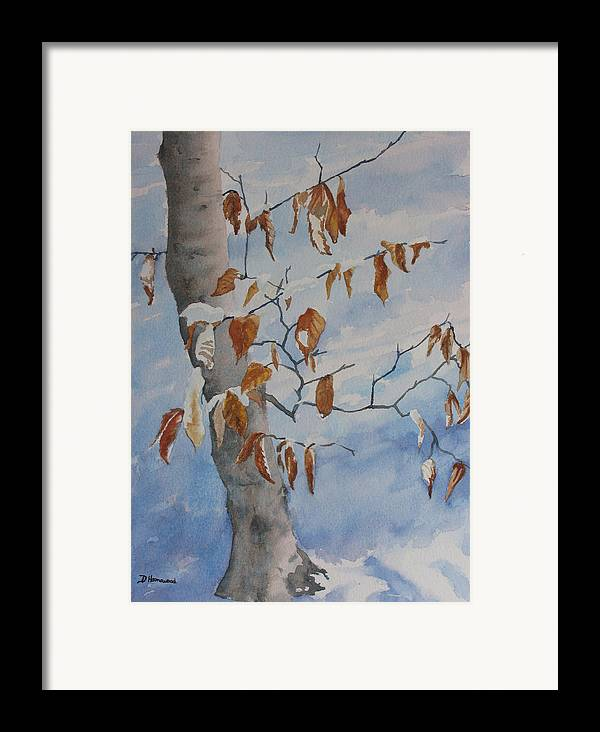 Beech Leaves Framed Print featuring the painting Last Leaves by Debbie Homewood