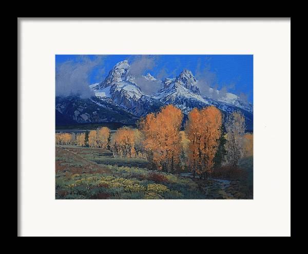 Landscape Framed Print featuring the painting 'last Leaves' by Lanny Grant