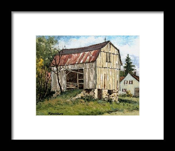 Barn Framed Print featuring the painting Last Legs by Richard De Wolfe