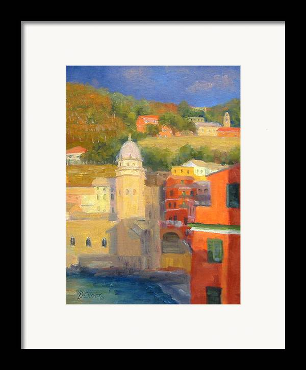 Vernazza Framed Print featuring the painting Last Light - Vernazza by Bunny Oliver