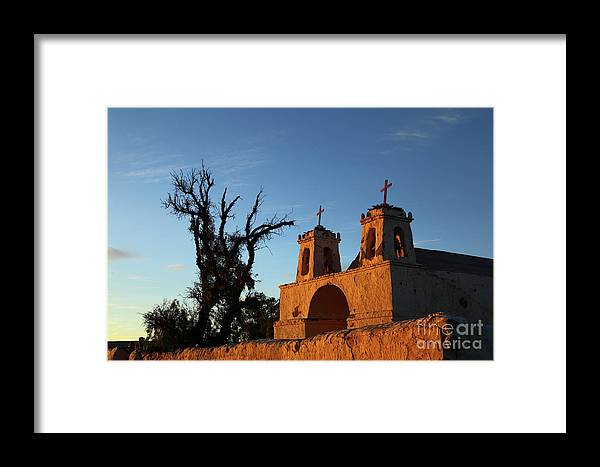 Chile Framed Print featuring the photograph Last Light On Chiu Chiu Church Chile by James Brunker