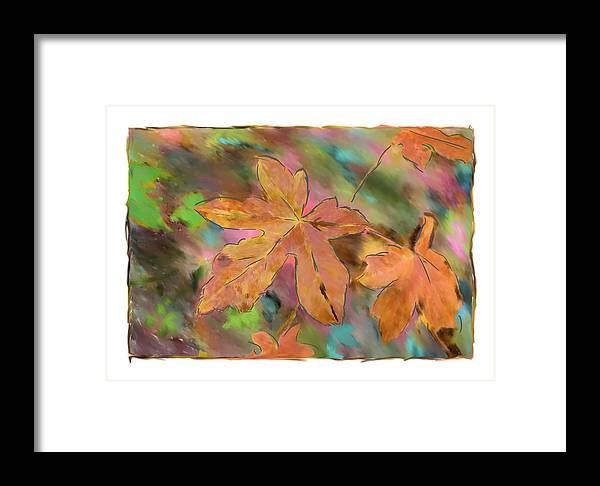 Abstract Digital Art Framed Print featuring the photograph Last Of The Fall Leaves Abstract Digital Art by Sandy Belk