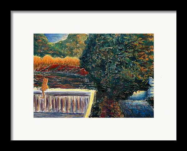 Oil Framed Print featuring the painting Last Rays by Cynthia Ann Swan