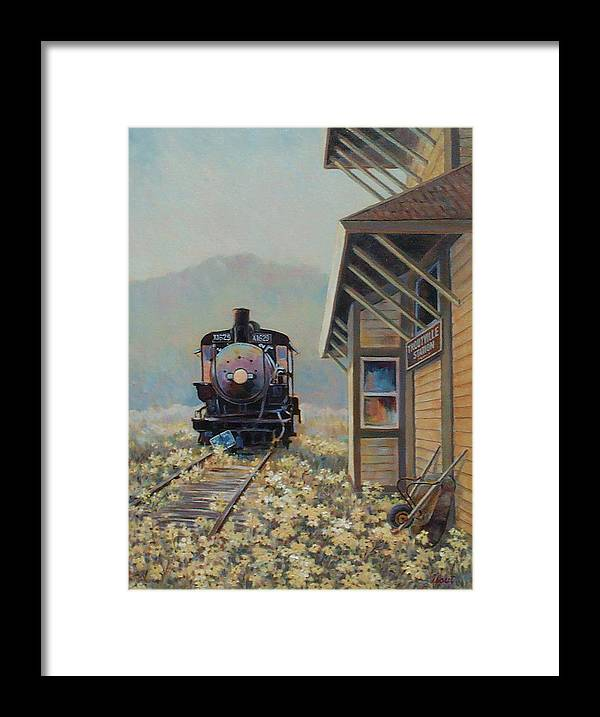 Locomotive Framed Print featuring the painting Last Stop Troutville by Don Trout
