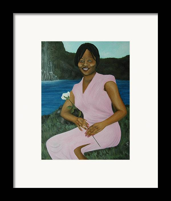Portrait Framed Print featuring the painting Latasha by Angelo Thomas