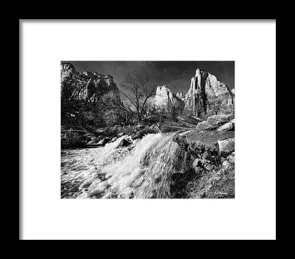 Mountains Framed Print featuring the photograph Late Afternoon At The Court Of The Patriarchs - Bw by Christopher Holmes