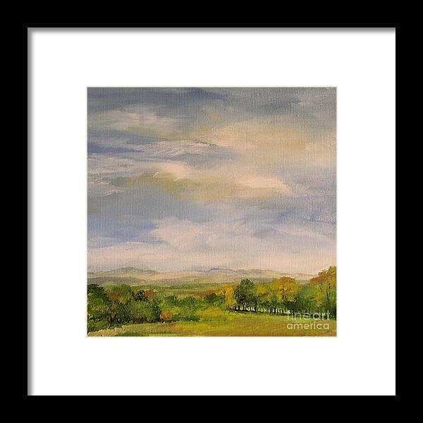 Autumn Framed Print featuring the painting Late Afternoon In Vermont by Laurie Rohner