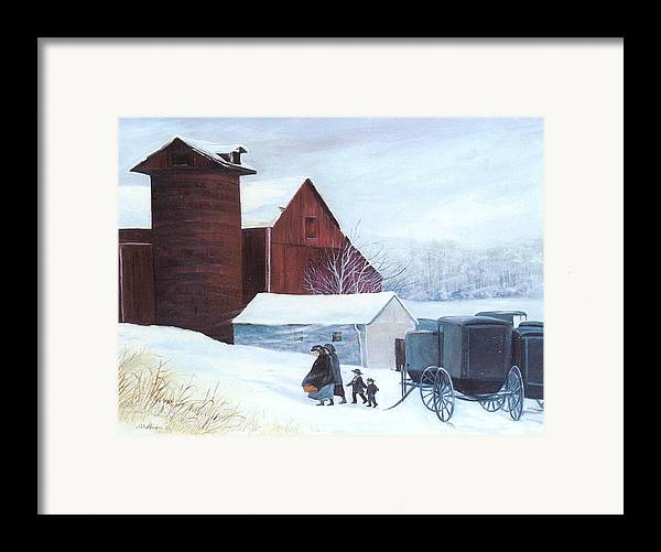 Amish;barn;buggies;winter;snow; Framed Print featuring the print Late Arrivals by Lois Mountz