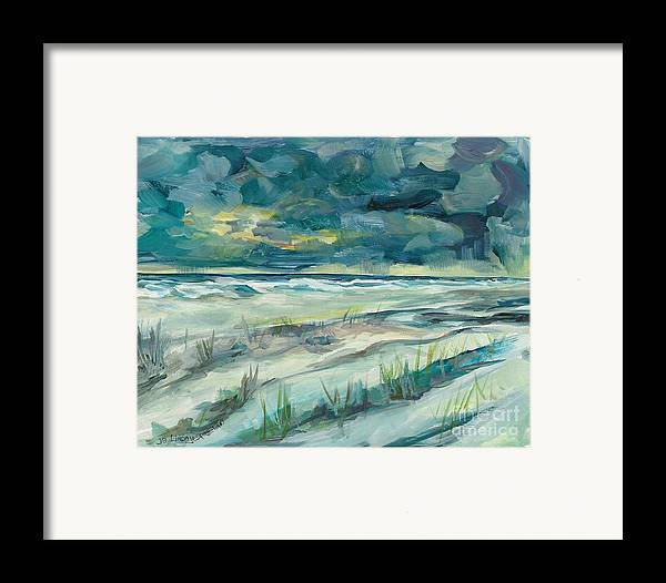 Beach Framed Print featuring the painting Late Evening Storm In Destin by Linda Vespasian