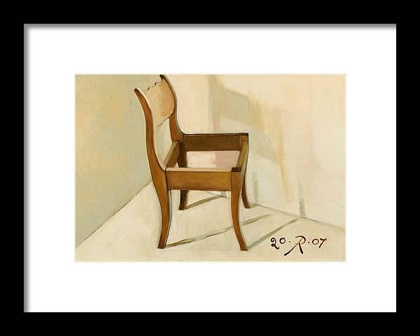 Still-life Chair Interior Light Brown Framed Print featuring the painting Late still-life by Raimonda Jatkeviciute-Kasparaviciene