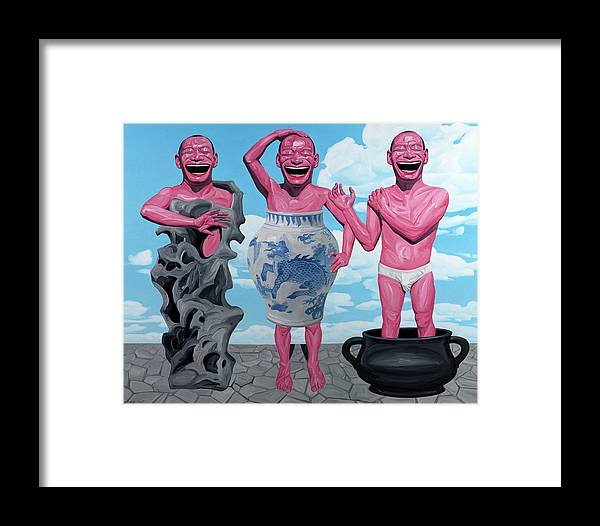 Laugh Heartily Framed Print featuring the painting Laugh Heartily by Yue Minjun